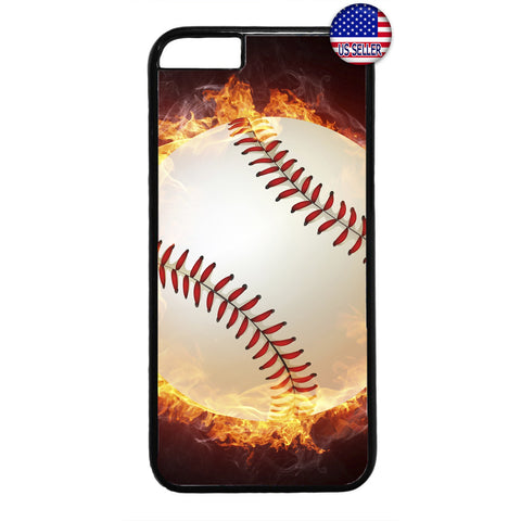 Baseball In Flames Sport Rubber Case Cover For Iphone