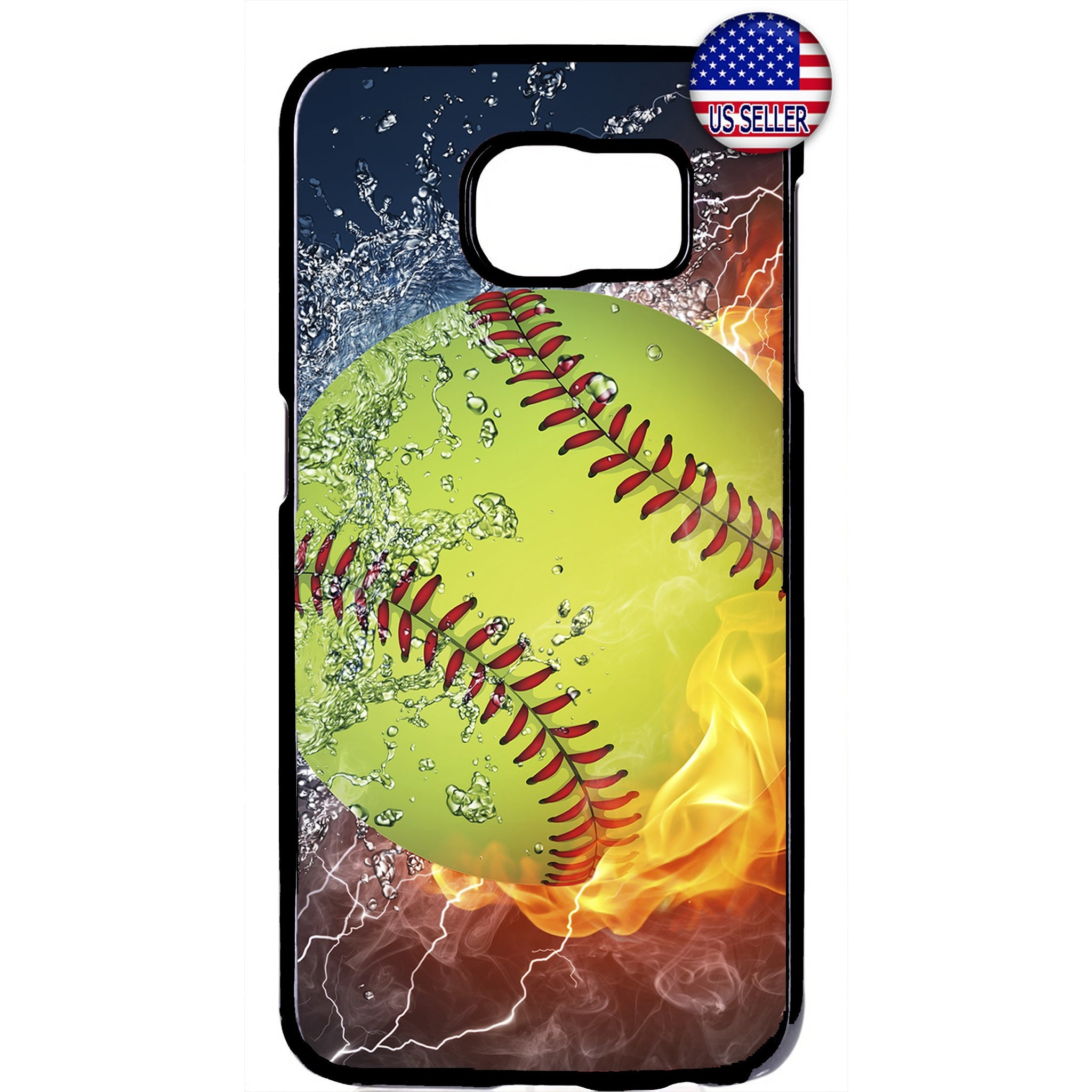 Softball Fire & Ice Sport Rubber Case Cover For Samsung Galaxy