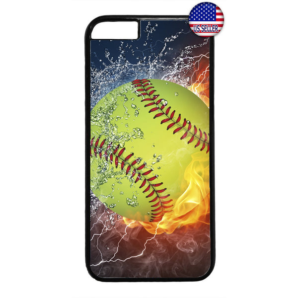 Softball Fire & Ice Sport Rubber Case Cover For Iphone