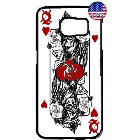 Queen Of Hearts Katrina Poker Dia De Los Muertos Rubber Case Cover For Samsung Galaxy