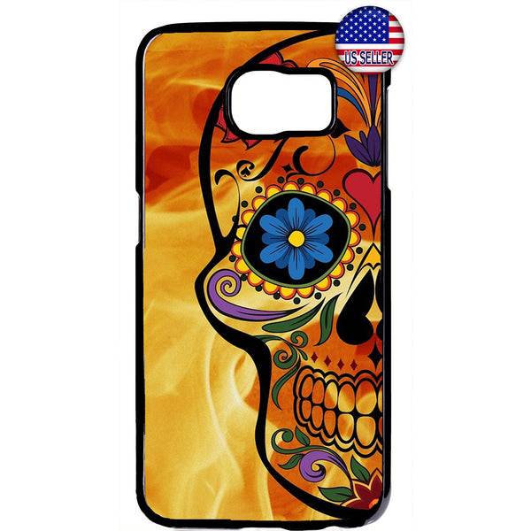 Sugar Skull Mexican Dia De Los Muertos Rubber Case Cover For Samsung Galaxy