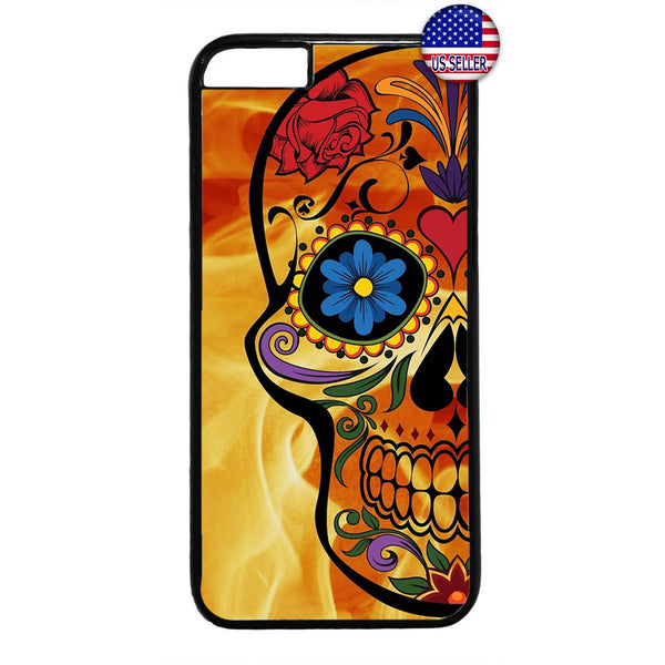 Sugar Skull Mexican Dia De Los Muertos Rubber Case Cover For Iphone