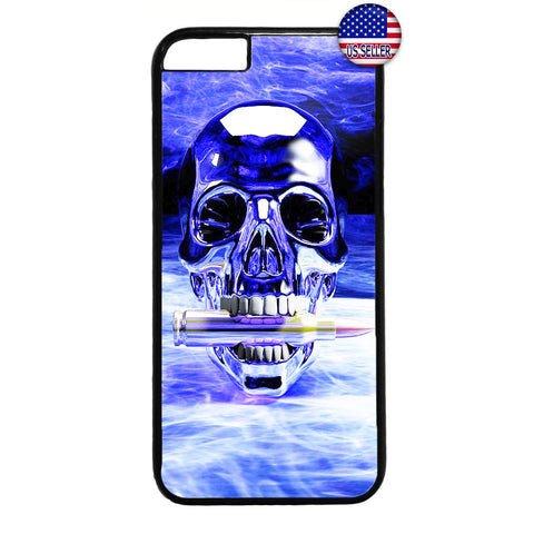 Grim Reaper Skull Bullet Blue Fire Rubber Case Cover For Iphone