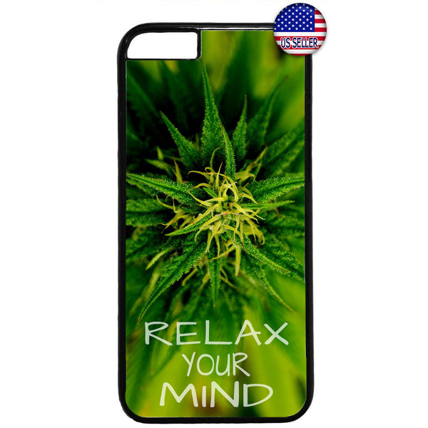 Relax Your Mind Pot Weed Marijuana Rubber Case Cover For Iphone