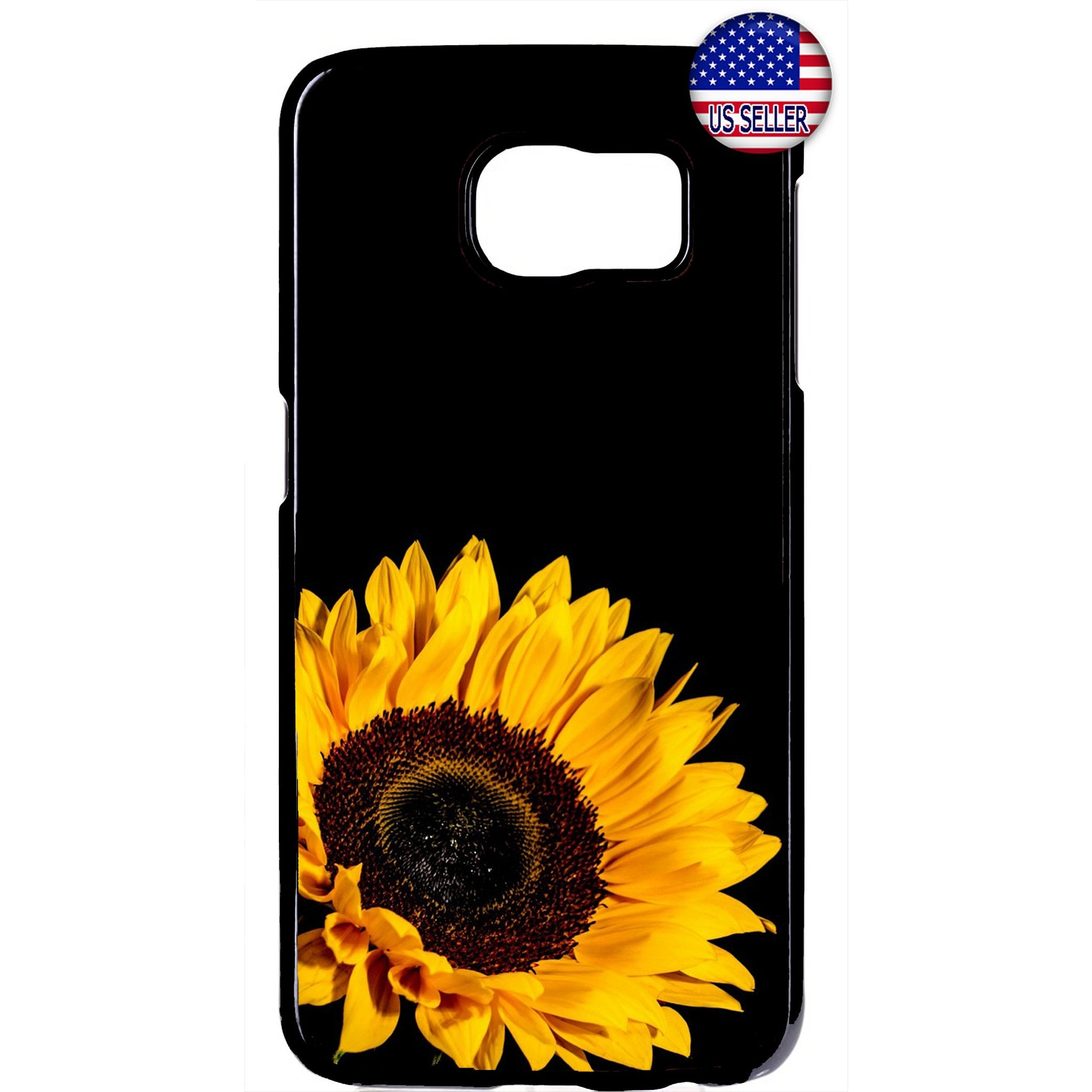 Sunflower Yellow Black Garden Rubber Case Cover For Samsung Galaxy