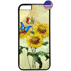 Sunflowers & Butterflies Garden Rubber Case Cover For Iphone