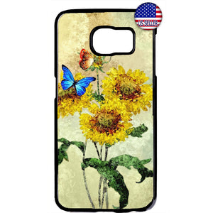 Sunflowers & Butterflies Garden Rubber Case Cover For Samsung Galaxy