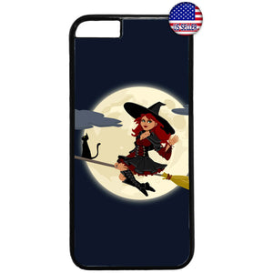 Sexy Goth Witch & Black Cat Halloween Rubber Case Cover For Iphone