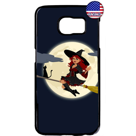 Sexy Goth Witch & Black Cat Halloween Rubber Case Cover For Samsung Galaxy