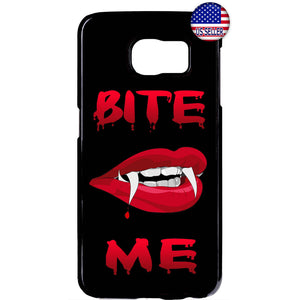 Bite Me Vampire Fangs Halloween Rubber Case Cover For Samsung Galaxy