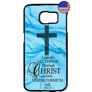 Blue Veil Cross Christ Christian Rubber Case Cover For Samsung Galaxy