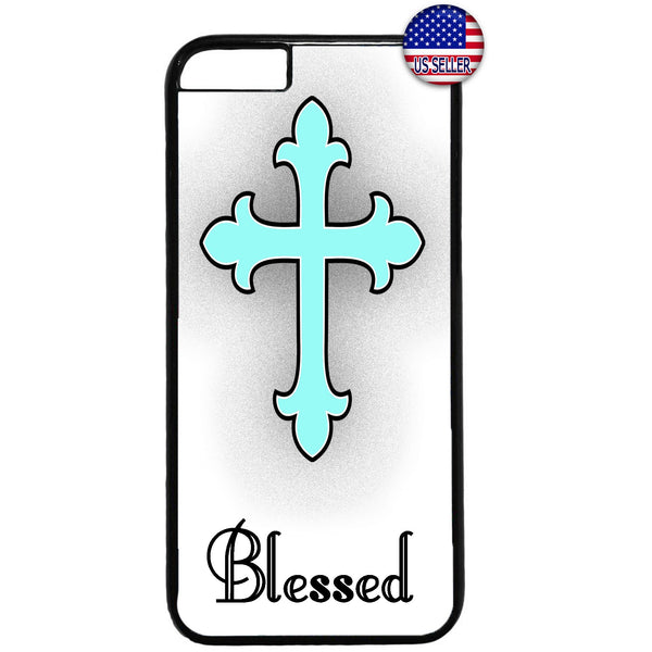 Teal Blessed Cross Christ Christian Rubber Case Cover For Iphone