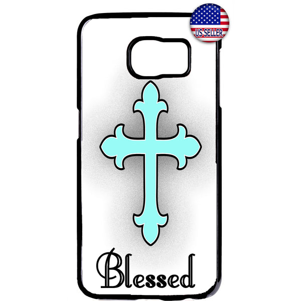 Teal Blessed Cross Christ Christian Rubber Case Cover For Samsung Galaxy Note