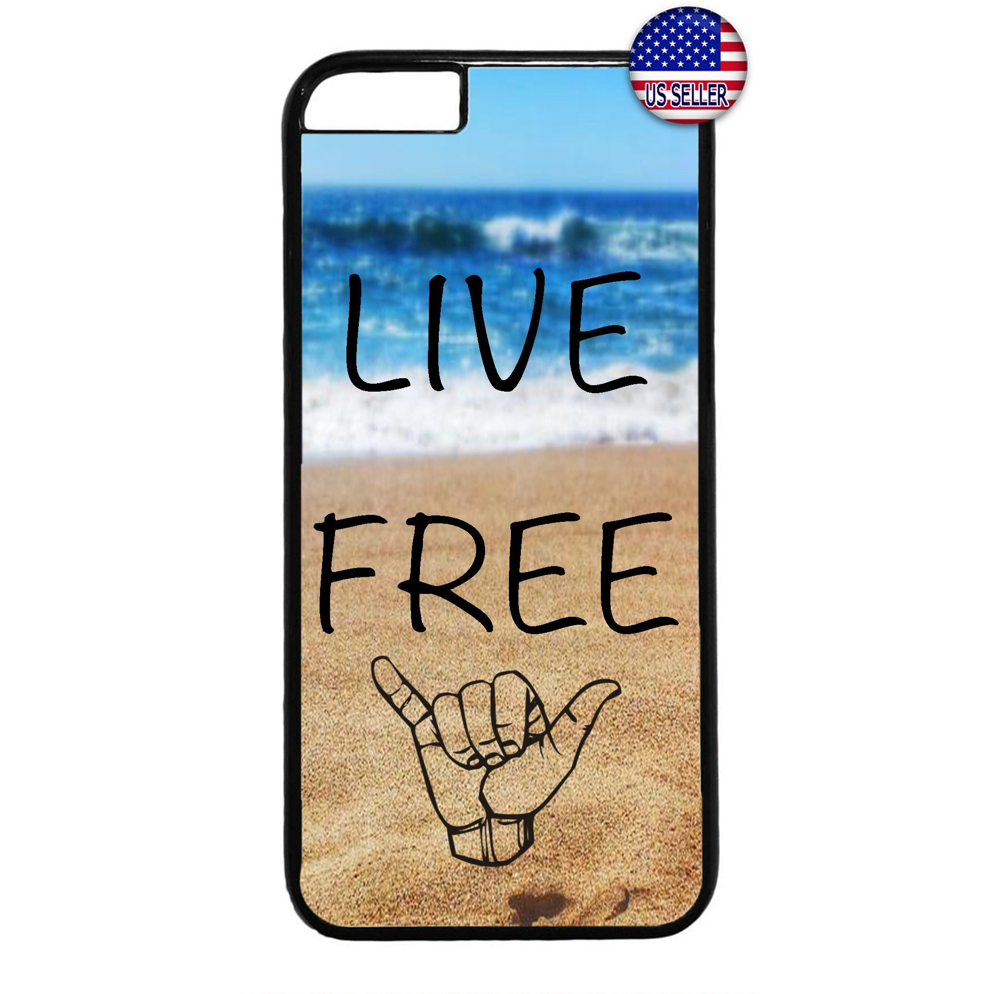 Cool Waves Live Free Rubber Case Cover For Iphone