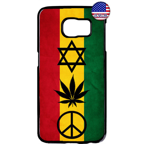 Reggae Rasta Flag Weed Marijuana Rubber Case Cover For Samsung Galaxy