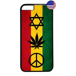 Reggae Rasta Flag Weed Marijuana Rubber Case Cover For Iphone