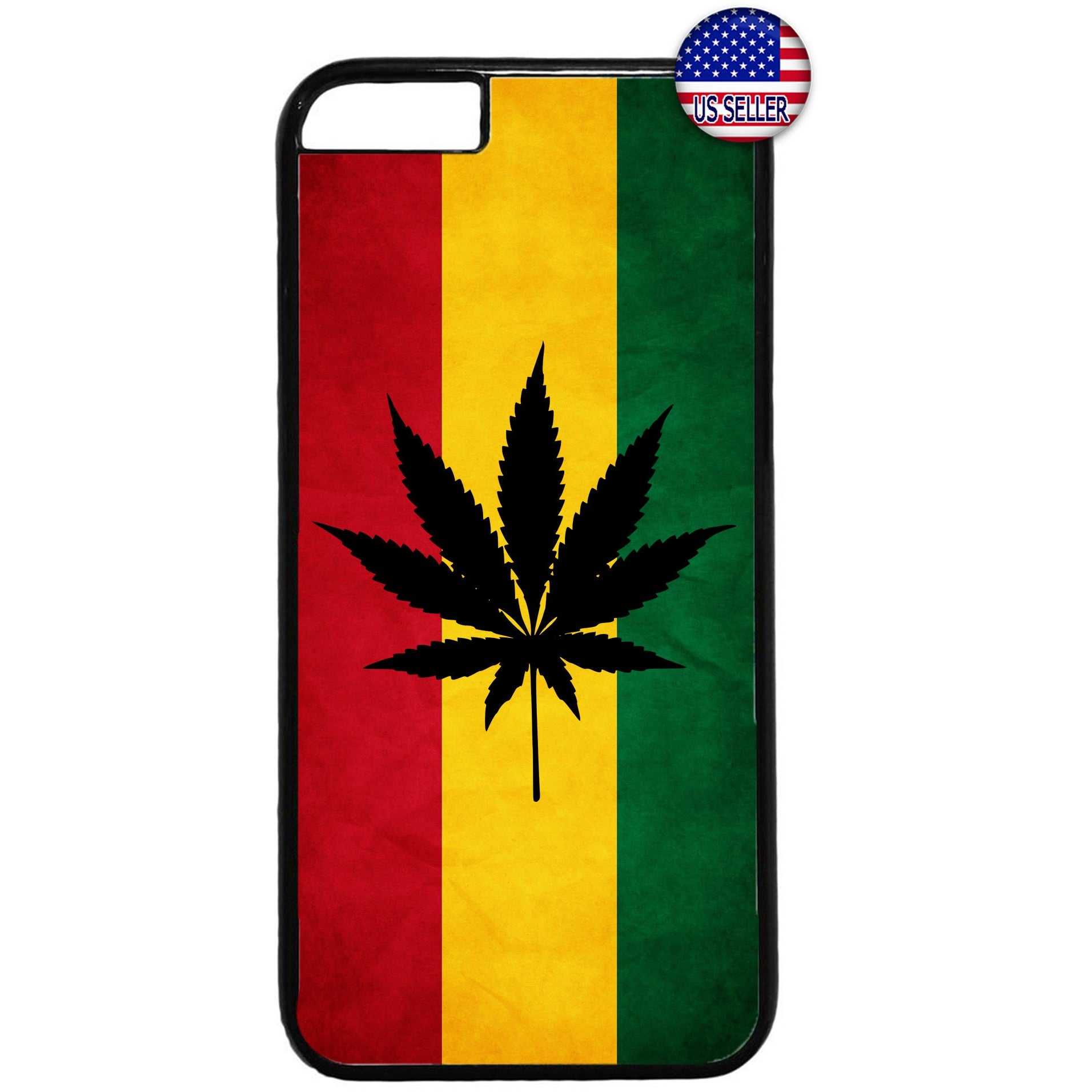 Weed Leaf Reggae Rasta Marijuana Rubber Case Cover For Iphone