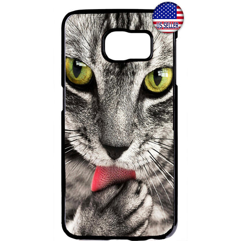 Cat Liking Paw Furry Pet Animal Rubber Case Cover For Samsung Galaxy