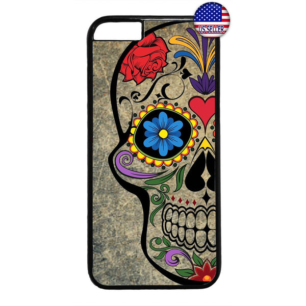 Mexican Day Sugar Skull Dia De Los Muertos Rubber Case Cover For Iphone