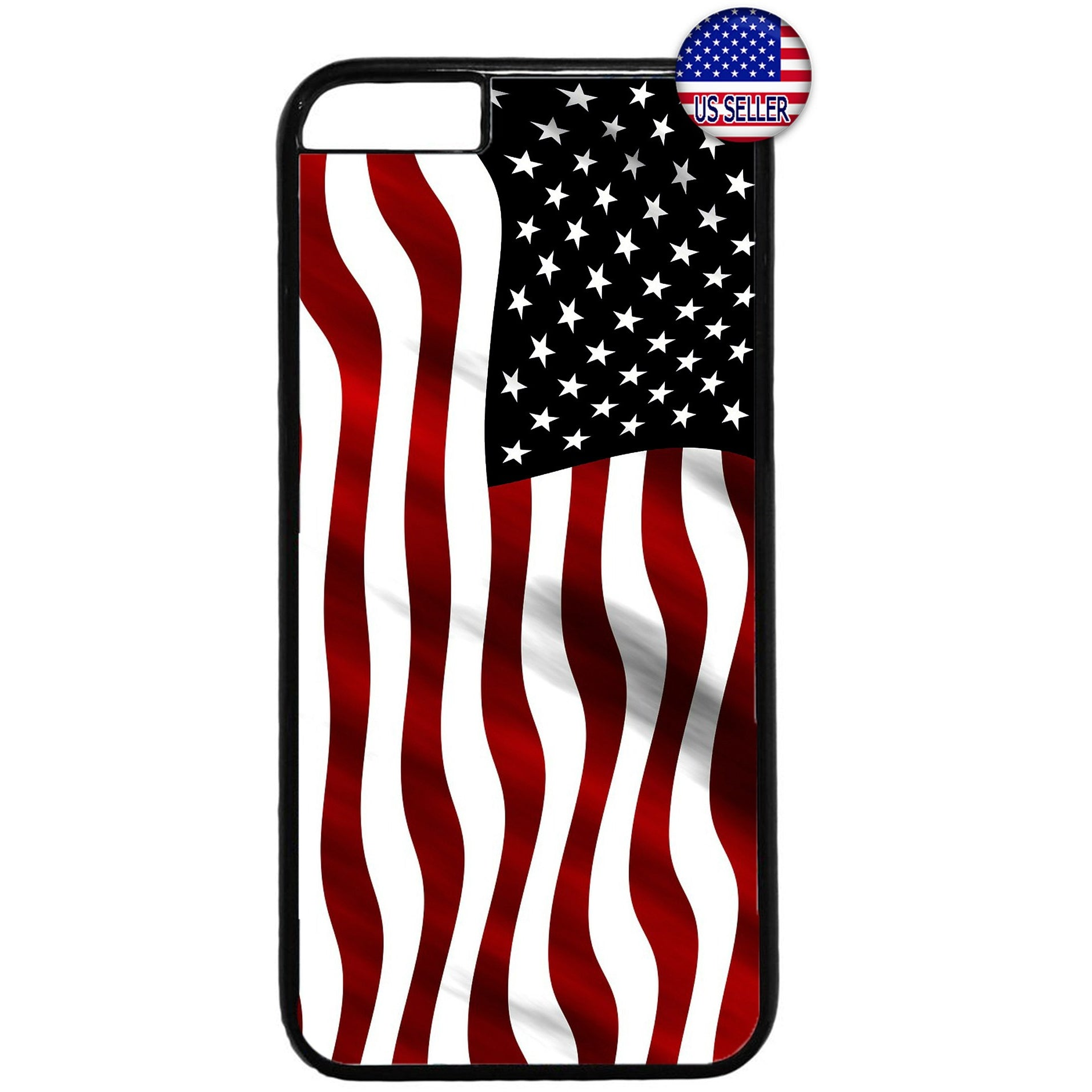 Wavy USA Flag America Rubber Case Cover For Iphone