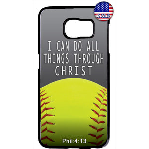 Christian Bible Verse Softball Jesus Christ Rubber Case Cover For Samsung Galaxy