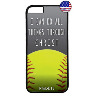 Christian Bible Verse Softball Jesus Christ Rubber Case Cover For Iphone