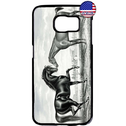 Horses In A Farm Stable Rubber Case Cover For Samsung Galaxy