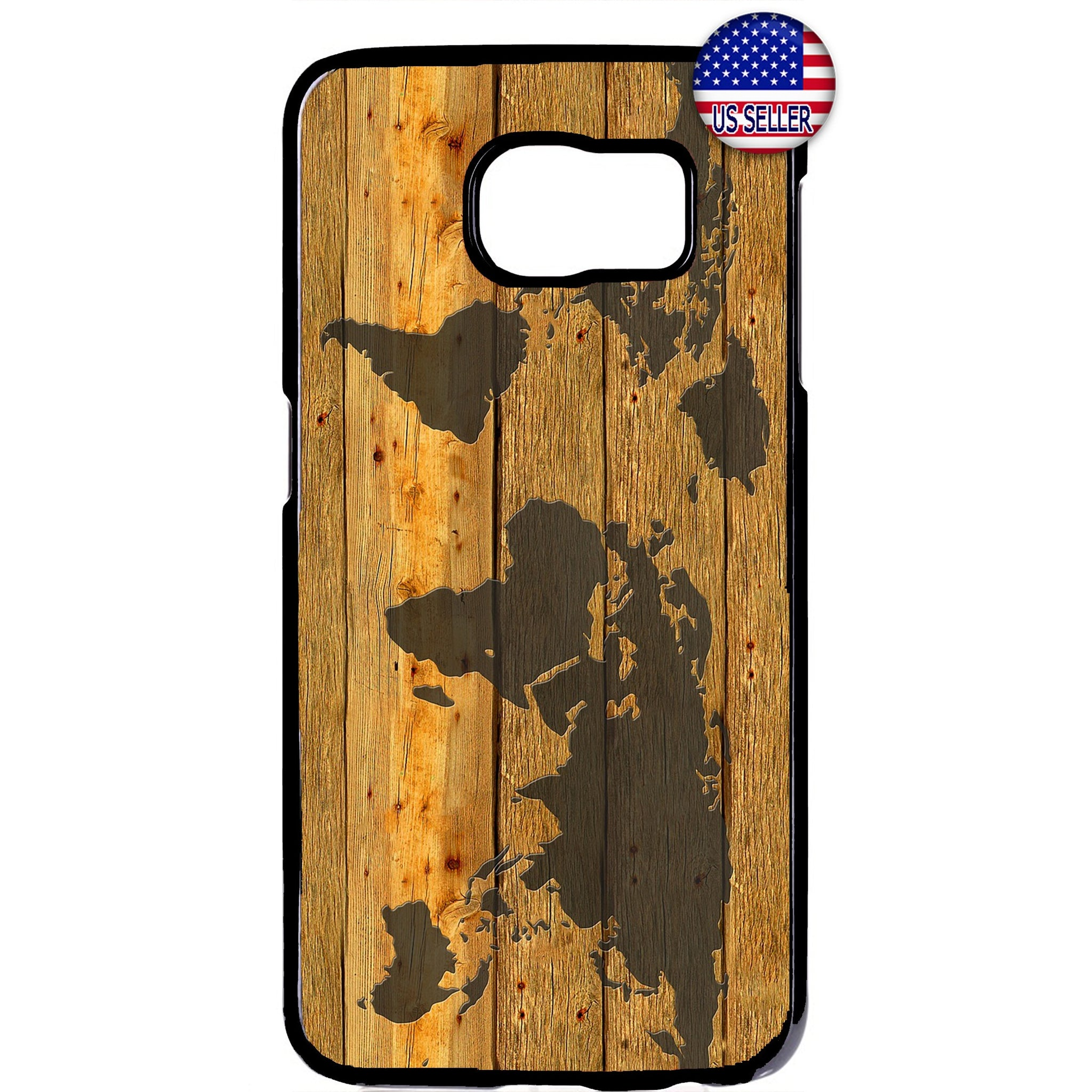 World Map Wood Style Rubber Case Cover For Samsung Galaxy
