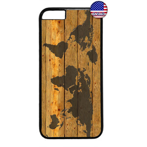 World Map Wood Style Rubber Case Cover For Iphone