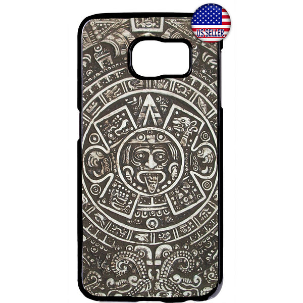 Aztec Calendar Mayan Native Stone Pattern Rubber Case Cover For Samsung Galaxy