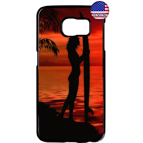 Surfer Woman Beach Girl Rubber Case Cover For Samsung Galaxy