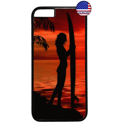 Surfer Woman Beach Girl Rubber Case Cover For Iphone