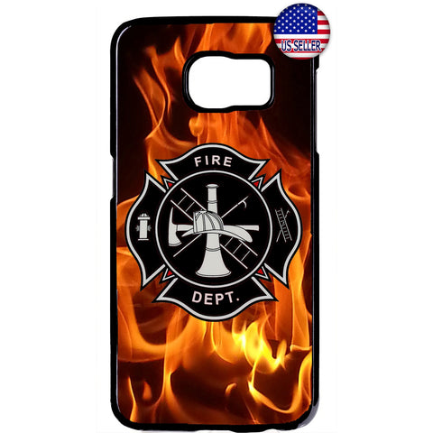 Firefighter Fire Dept. Flames Rubber Case Cover For Samsung Galaxy