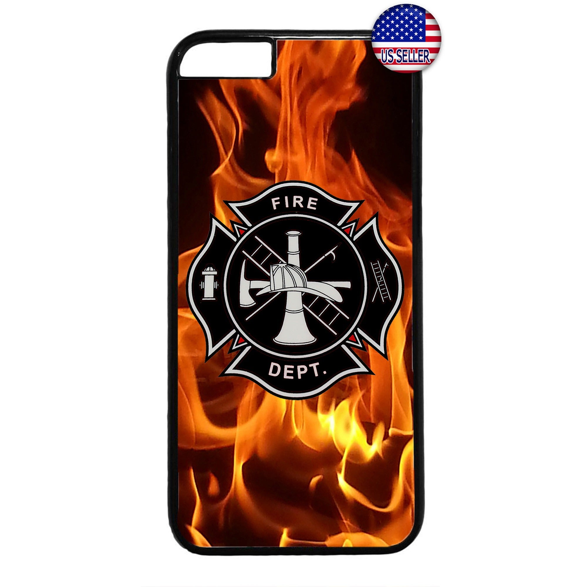 Firefighter Fire Dept. Flames Rubber Case Cover For Iphone