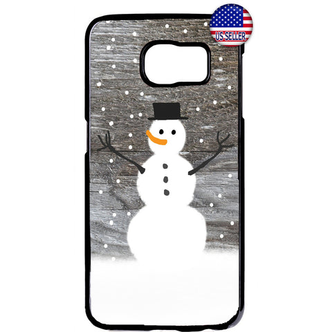 Happy Snowman Merry Christmas Rubber Case Cover For Samsung Galaxy