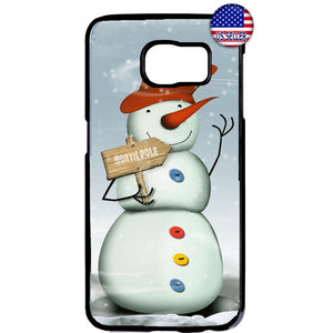 North Pole Snowman Xmas Rubber Case Cover For Samsung Galaxy