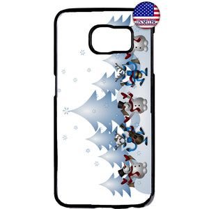 Merry Christmas Happy Snowmen Rubber Case Cover For Samsung Galaxy