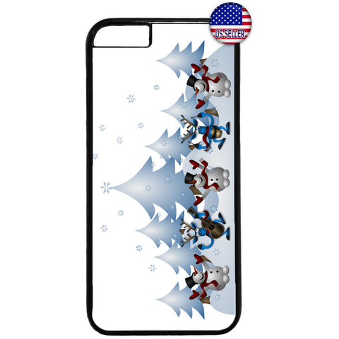Merry Christmas Happy Snowmen Rubber Case Cover For Iphone