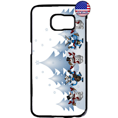 Merry Christmas Happy Snowmen Rubber Case Cover For Samsung Galaxy Note