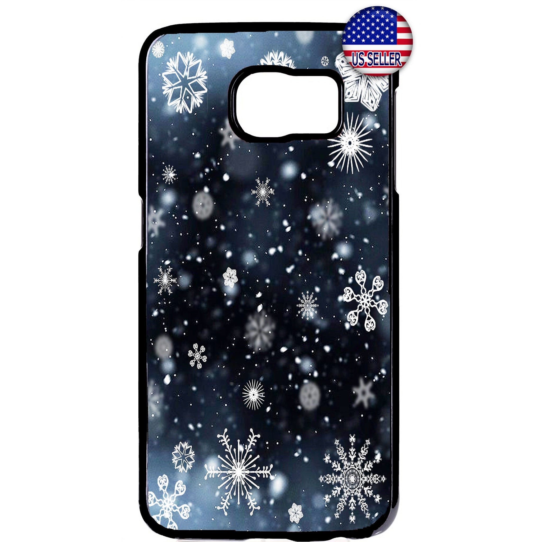 Merry Christmas Snow Flakes Rubber Case Cover For Samsung Galaxy