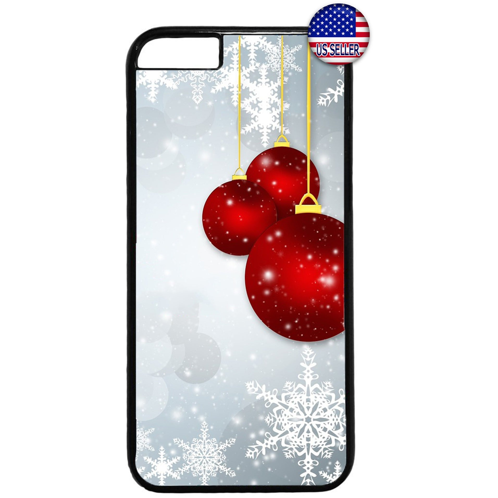 Red Merry Merry Christmas Ornaments Rubber Case Cover For Iphone