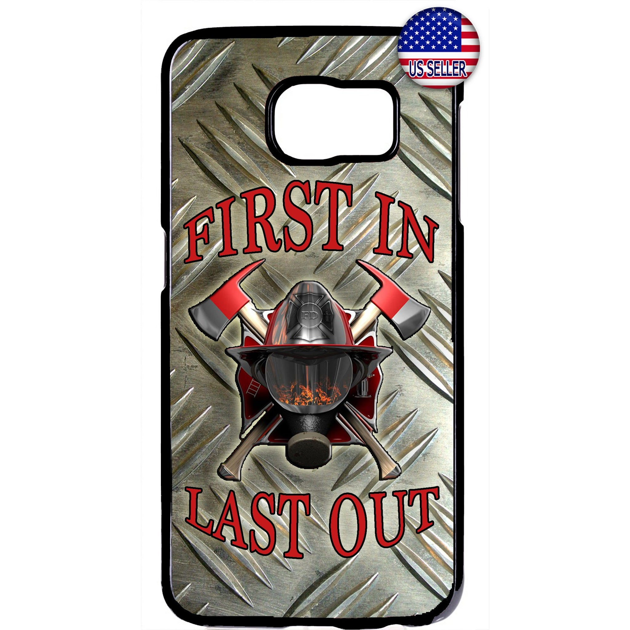 Fire Dept. Frist In Last Out Firefighter Rubber Case Cover For Samsung Galaxy