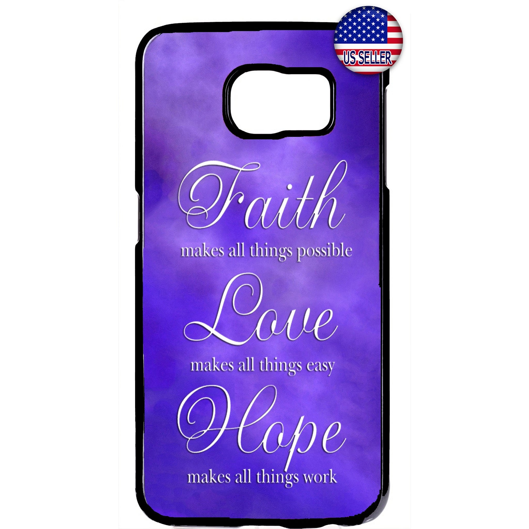 Purple Faith Love & Hope Rubber Case Cover For Samsung Galaxy