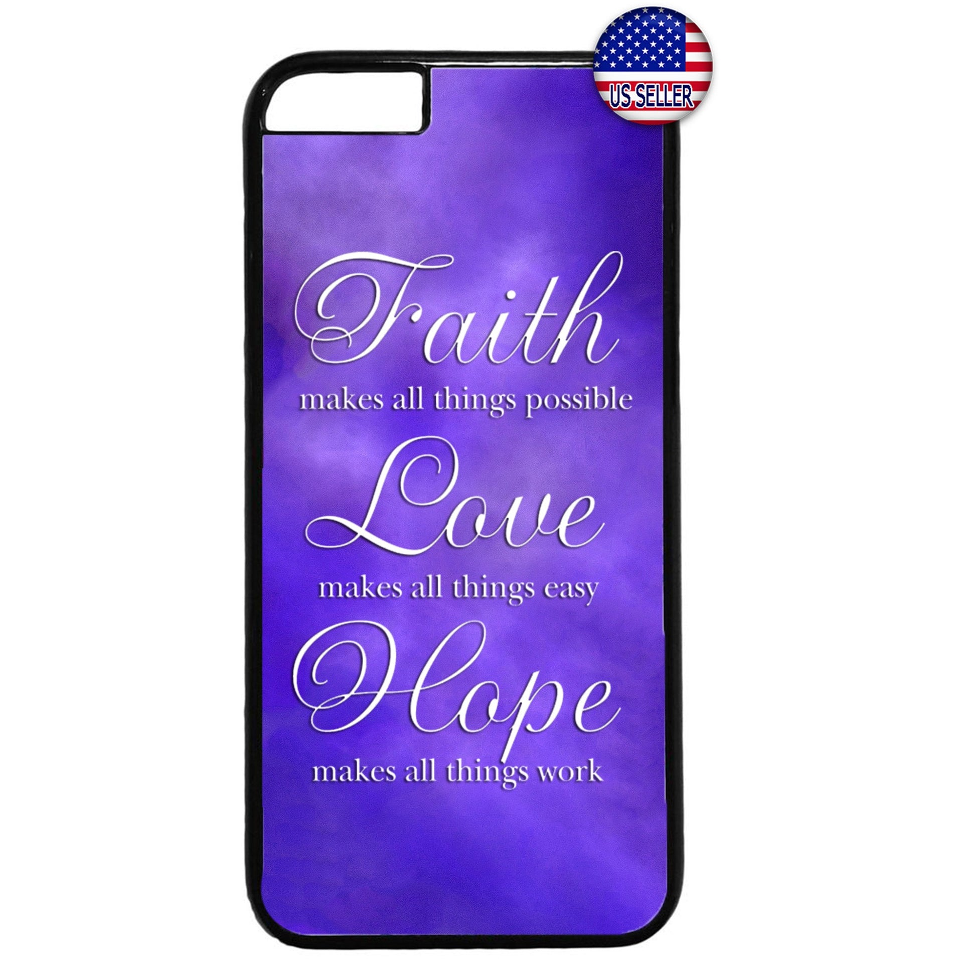 Purple Faith Love & Hope Rubber Case Cover For Iphone