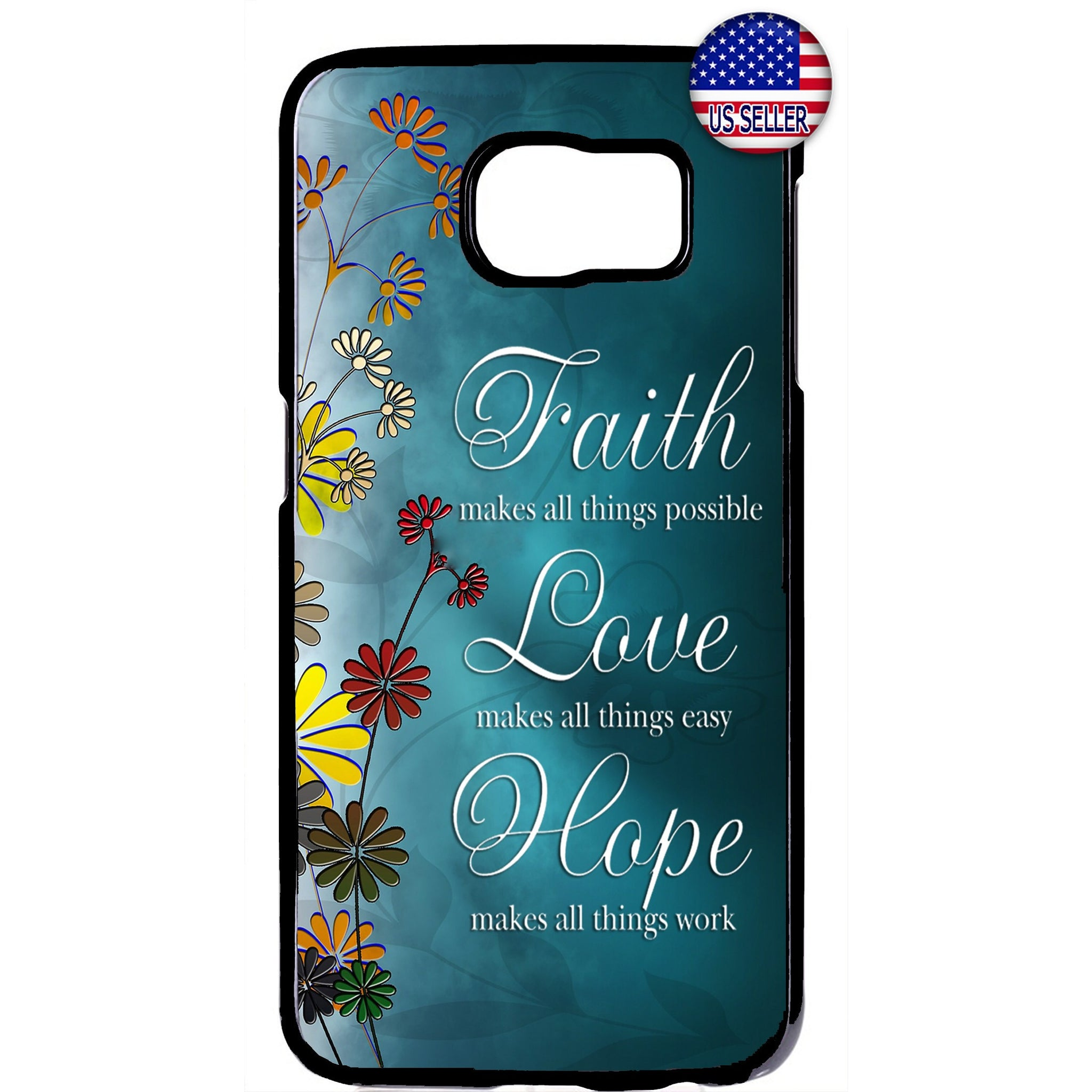 Floral Faith Love & Hope Rubber Case Cover For Samsung Galaxy Note