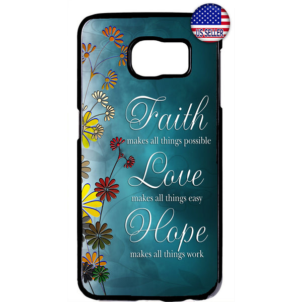 Floral Faith Love & Hope Rubber Case Cover For Samsung Galaxy