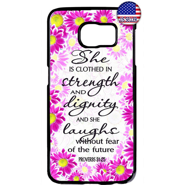Floral Christian Bible Verse Rubber Case Cover For Samsung Galaxy