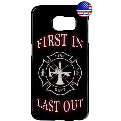Firefighter First & Last Fire Dept. Rubber Case Cover For Samsung Galaxy