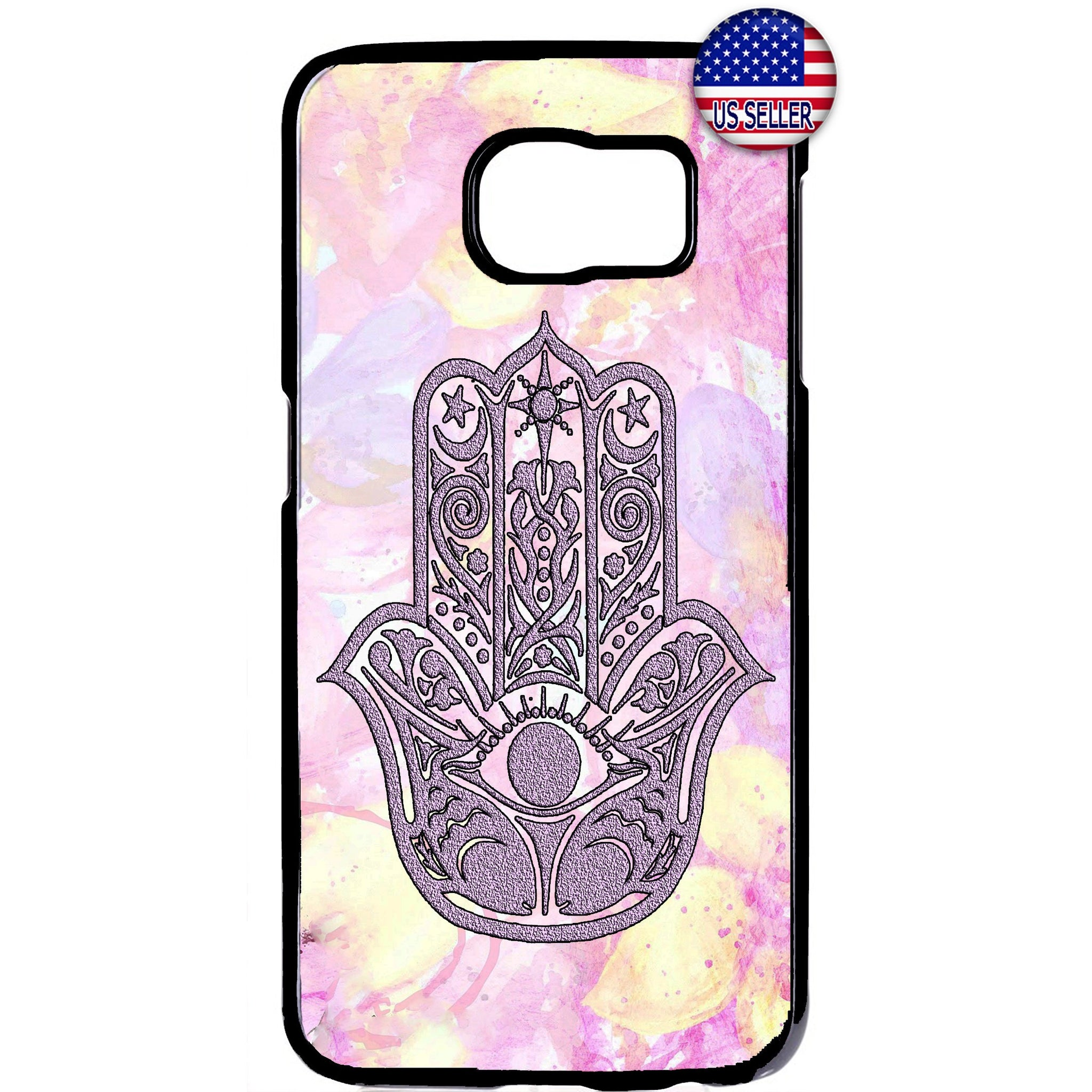 Pink Hamsa Hand Evil Eye Rubber Case Cover For Samsung Galaxy