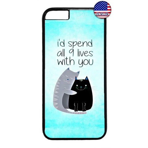 Cat Pet 9 Lives Kitty Rubber Case Cover For Iphone